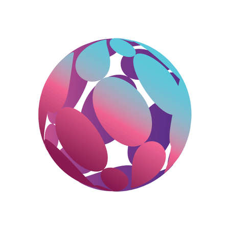 Globe logo element with oval shapes