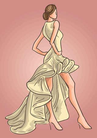 Fashion model in elegant dress 版權商用圖片 - 77255270