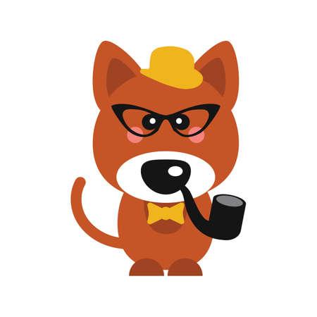 メガネと禁煙パイプを持つ犬  イラスト・ベクター素材