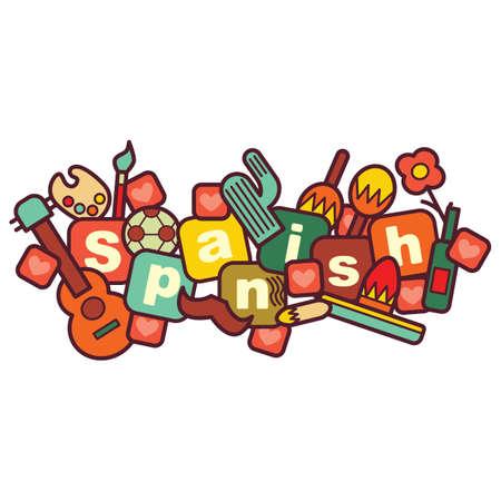 spanish language class concept Illustration