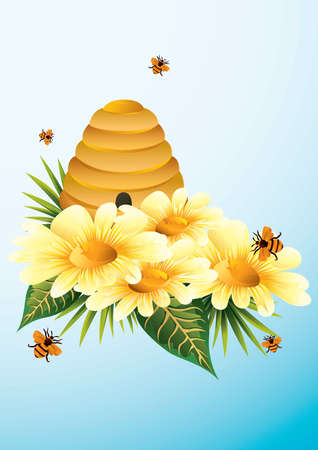 flowers and bee hive design