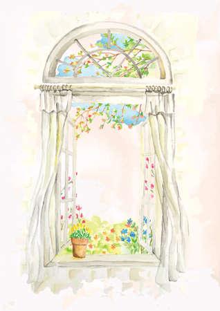 Diseño de alféizar de ventana abierta Foto de archivo - 77504211