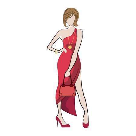 Croquis modèle de mode Banque d'images - 77393454