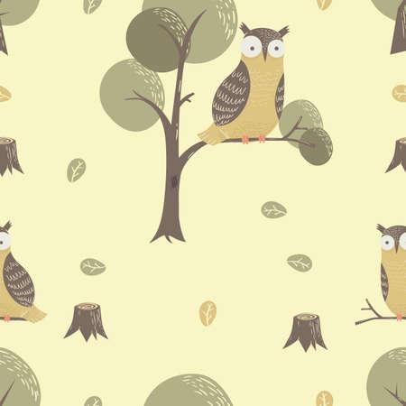 フクロウの包装紙のデザイン  イラスト・ベクター素材