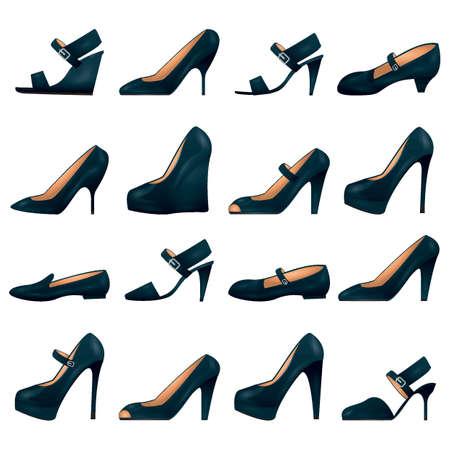 女性の靴のコレクション