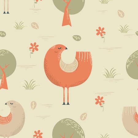 chicken wrapping paper design Ilustração