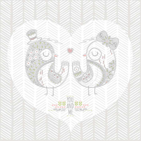 愛の鳥の背景デザイン  イラスト・ベクター素材