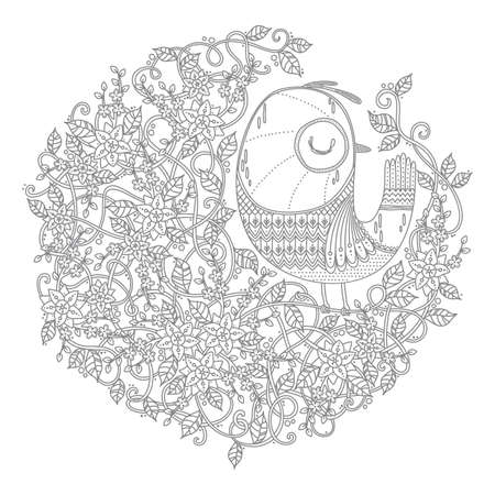 intricate floral and bird design
