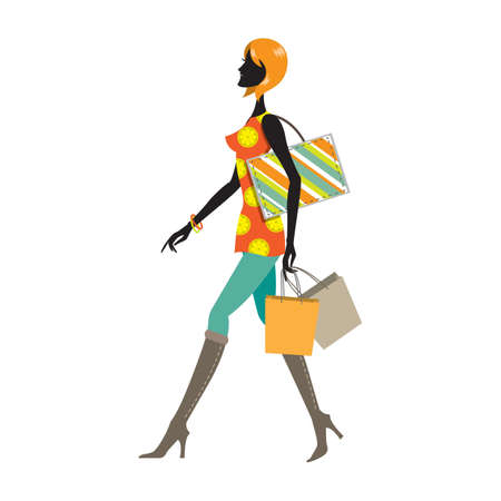 woman walking with shopping bags Illustration