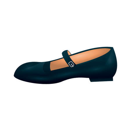 ladies black flat shoe Illustration