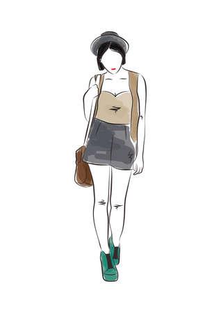 カジュアルな服のファッションモデル  イラスト・ベクター素材