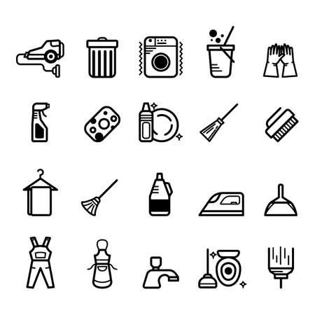 Set van schoonmaak pictogrammen