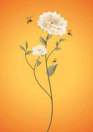 いくつかの花を囲む蜂  イラスト・ベクター素材