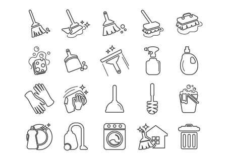 Set van pictogrammen voor het schoonmaken van gereedschap Stock Illustratie