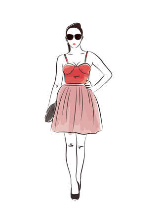 Fashion model in spaghetti strap dress Ilustrace