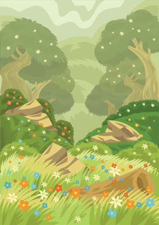 Spring time in a forest Ilustrace