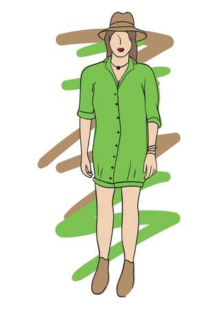 fashion model in casual wear Ilustrace
