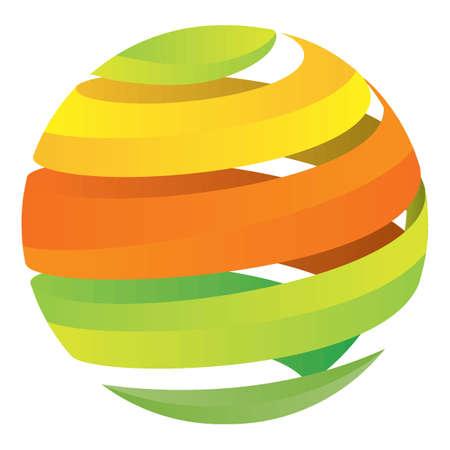 spiraling: globe logo element with spiraling concept Illustration