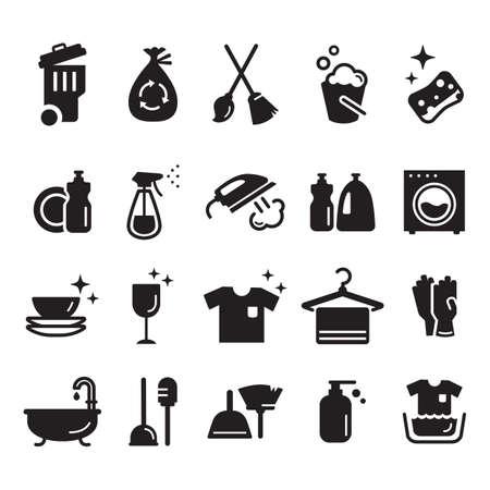 Set van schoonmaak pictogrammen Stockfoto - 77174125
