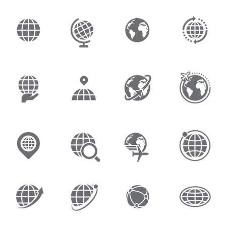 地球型のアイコンのセット