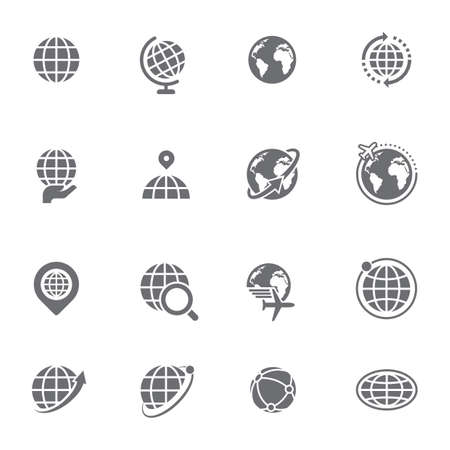 Set van wereldbol pictogrammen Stock Illustratie