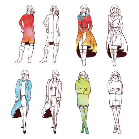 Collection of fashion model sketches Ilustrace