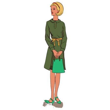 ハンドバッグ ファッション モデル  イラスト・ベクター素材