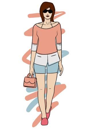 カジュアルな服装でファッション モデル