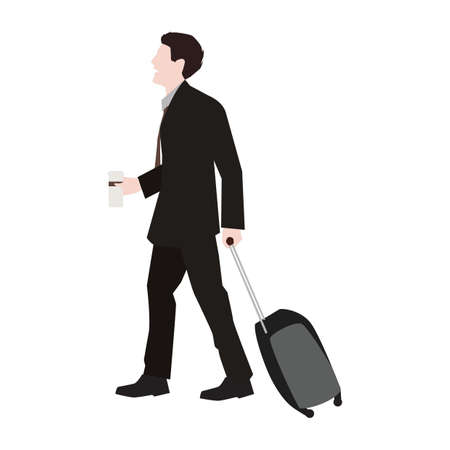 travelling salesman: Businessman going on a trip Illustration
