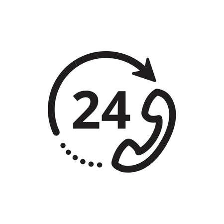 24 hours customer service icon Иллюстрация
