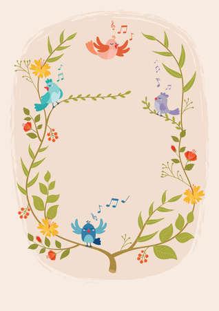 Ontwerp met bloemen en vogels