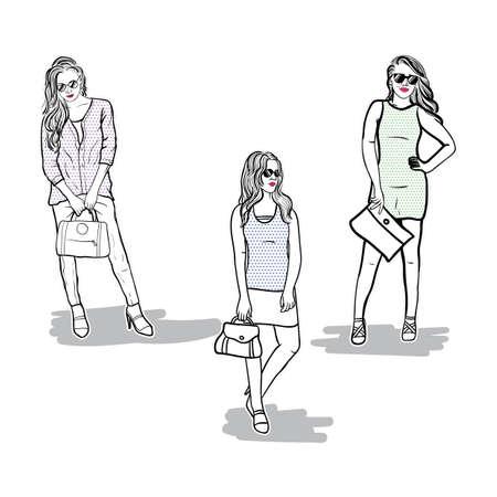 Collection of fashion model sketches Ilustração