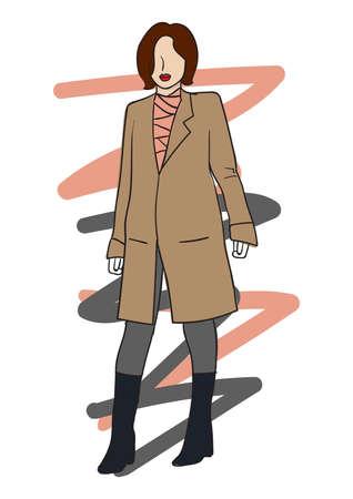 Fashion model wearing long coat