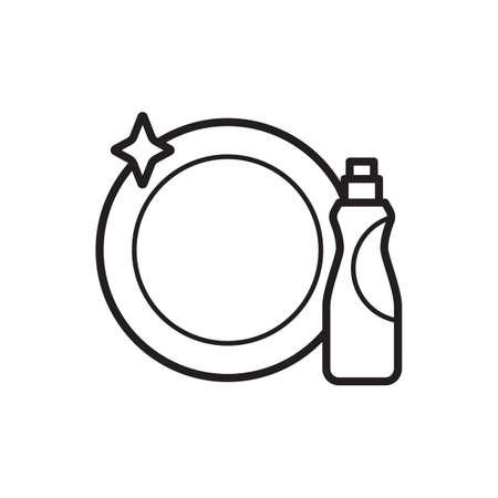 Vaatwasmiddel met een plaat Stock Illustratie