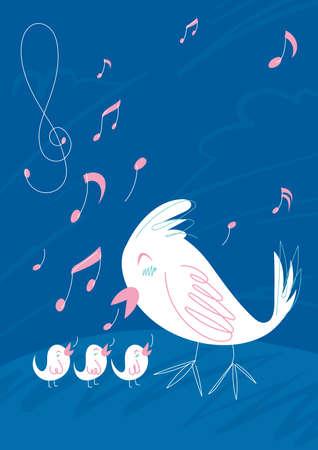 birds singing design Illustration