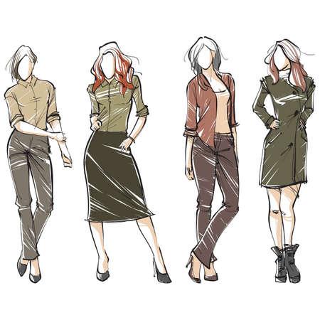 様々 な服装のファッション モデル コレクション