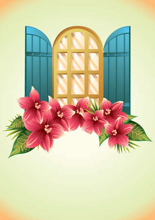 opened window with flowers Illustration