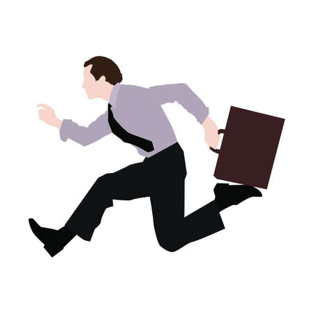 businessman rushing with briefcase