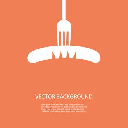 vork met worst achtergrondontwerp Stock Illustratie