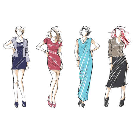 collection of fashion model sketches