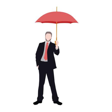 Businessman holding an umbrella Illustration