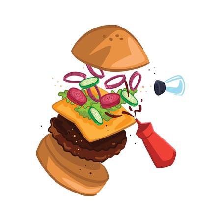 burger exploded view Ilustrace