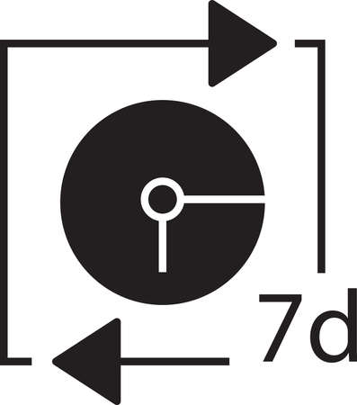 Clock with 7days icon Illustration
