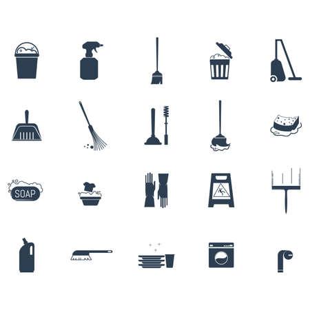Set van schoonmaakpictogrammen