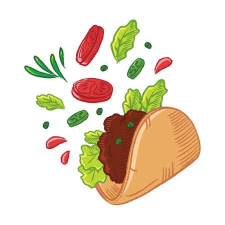 tossed tacos Иллюстрация