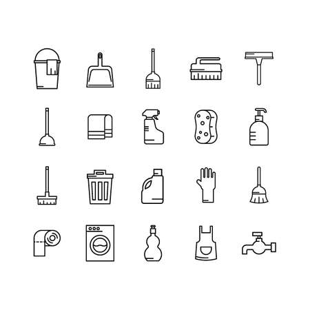 set of cleaning equipment Illustration