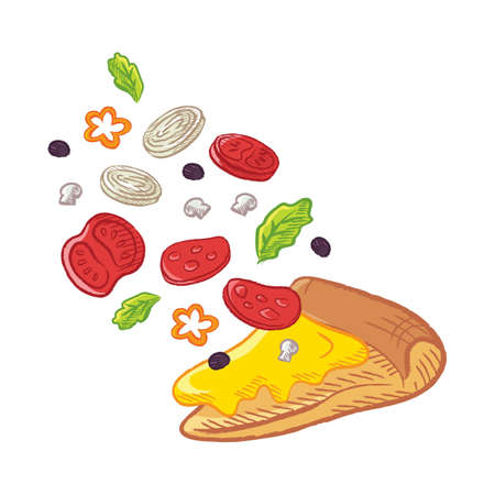 tossed pizza slice Illustration