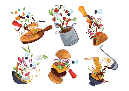 collection of food exploded views Illustration