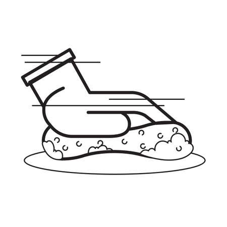hand washing with sponge