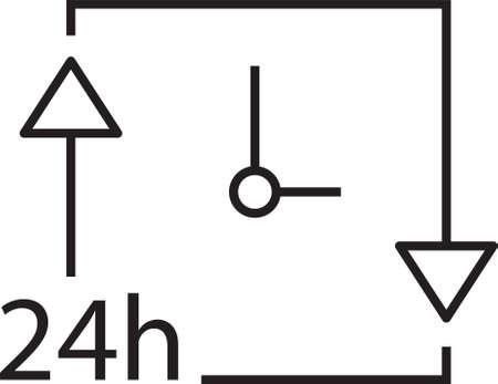 twenty four hour: clock with 24hours icon